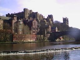 Durham castle and River with weir